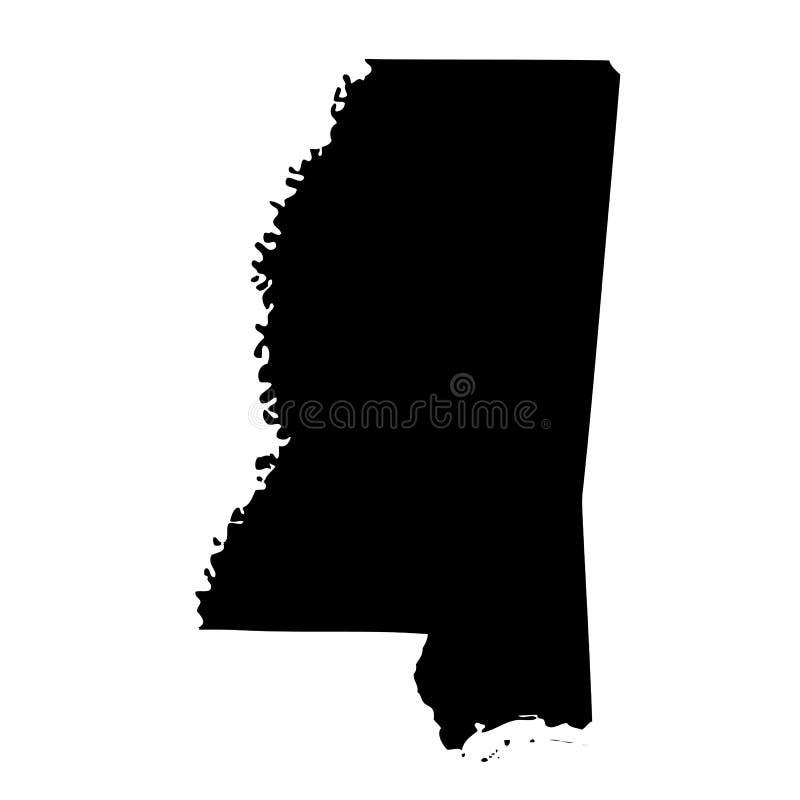 Mapa do U S estado Mississippi ilustração do vetor