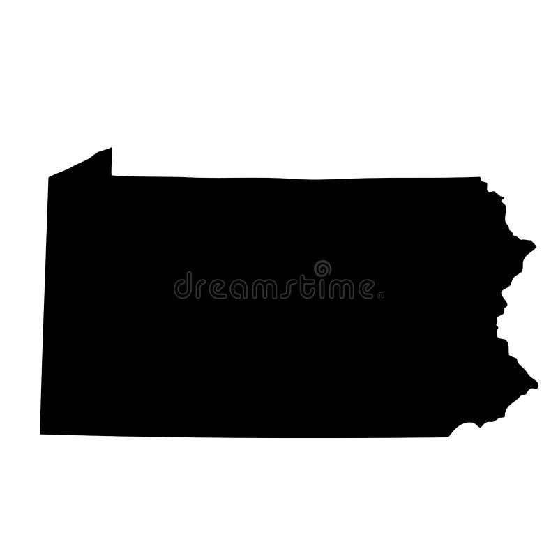 Mapa do U S estado Pensilvânia ilustração royalty free