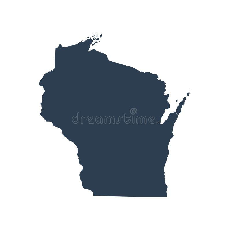 Mapa do U S estado Wisconsin ilustração do vetor
