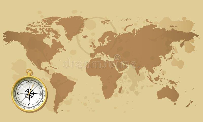 Mapa do Velho Mundo com compasso ilustração stock