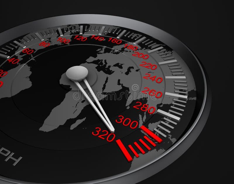 Mapa do velocímetro e de mundo ilustração stock