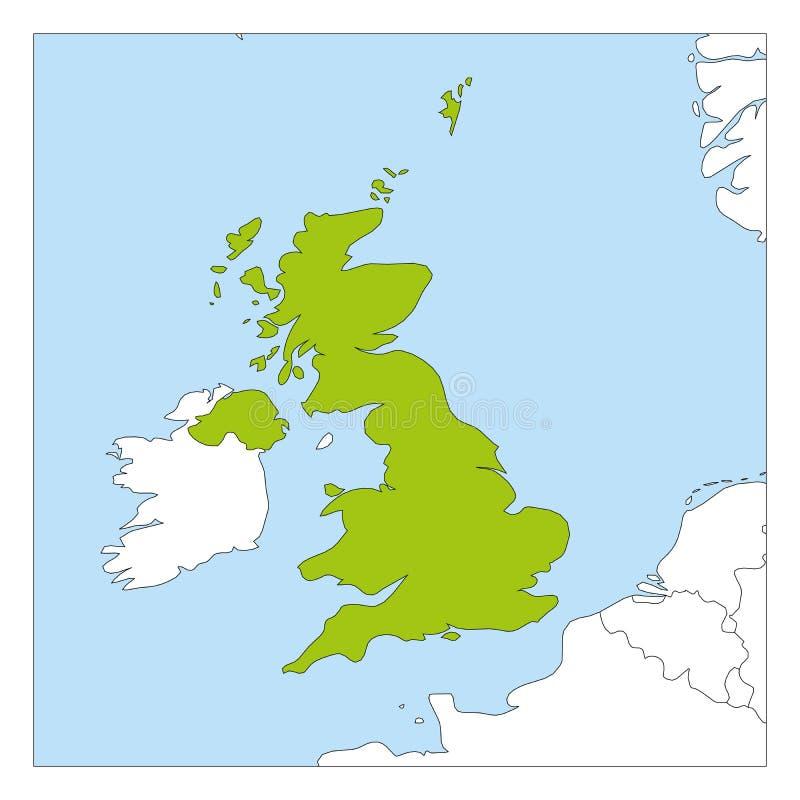 Mapa do verde de Reino Unido da Grã Bretanha e da Irlanda do Norte destacado com países vizinhos ilustração stock