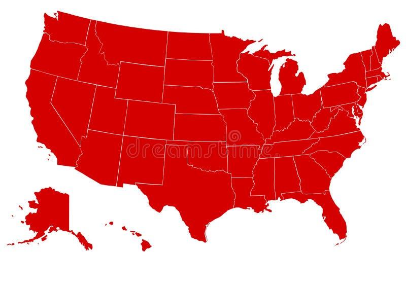 Mapa do vermelho de Estados Unidos da América ilustração stock