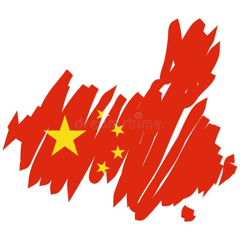 Mapa do vetor da China ilustração royalty free