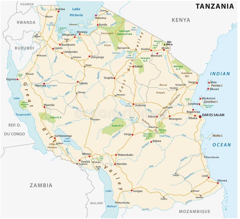 Mapa do vetor da estrada de República Unida da Tanzânia ilustração royalty free