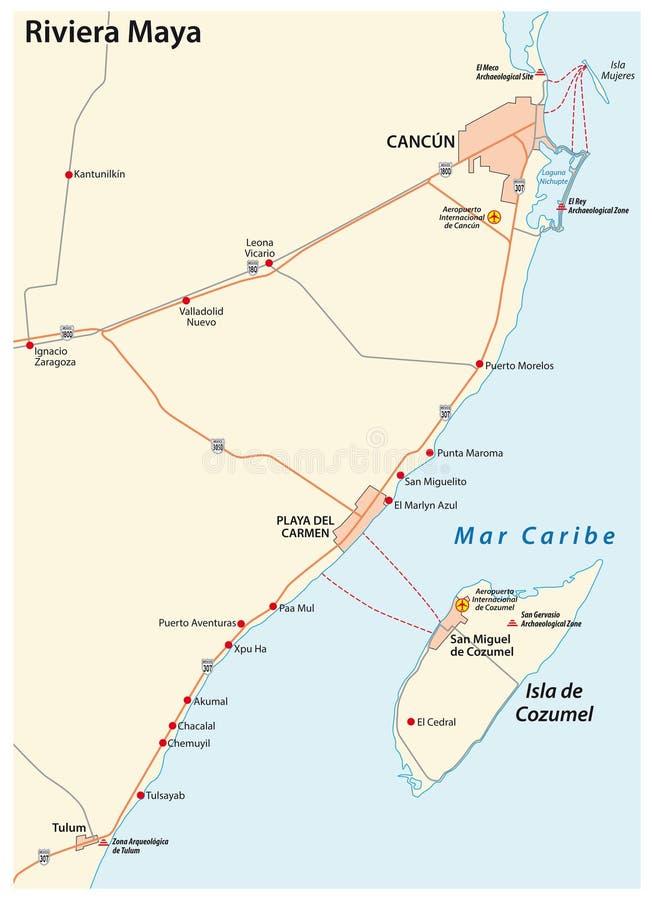 Mapa do vetor da estrada do maya de Riviera, Quintana Roo, México ilustração royalty free