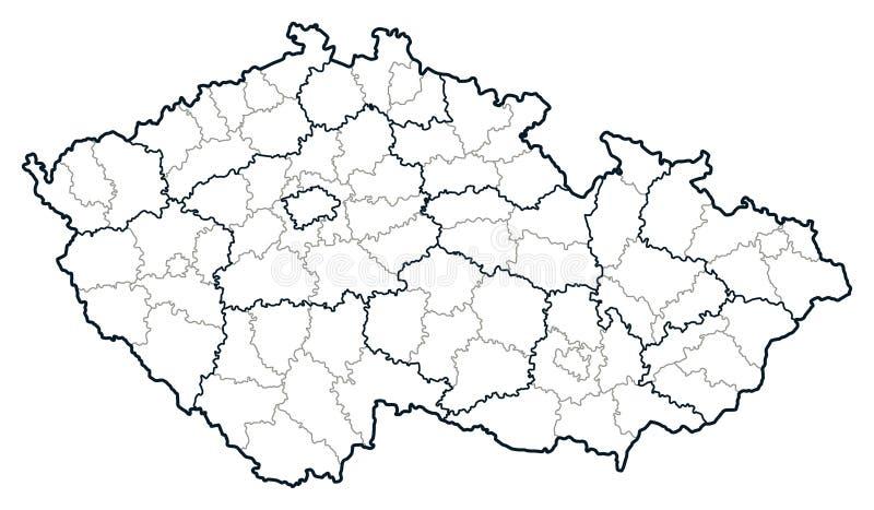 Mapa do vetor da república checa ilustração royalty free