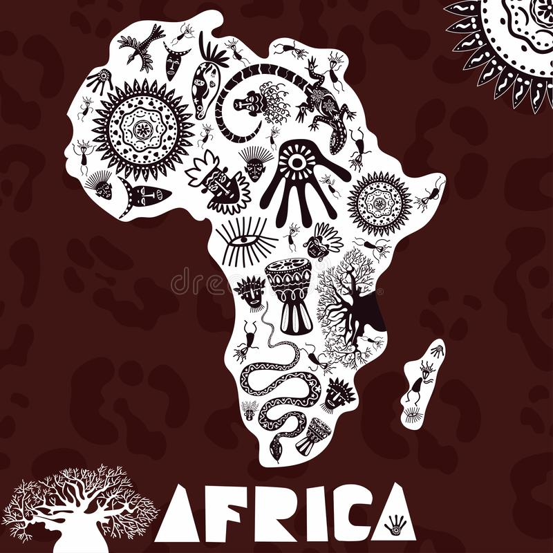Mapa do vetor de África com teste padrão do ethno, fundo tribal Ilustração do vetor de África no fundo da pele da pantera ilustração royalty free