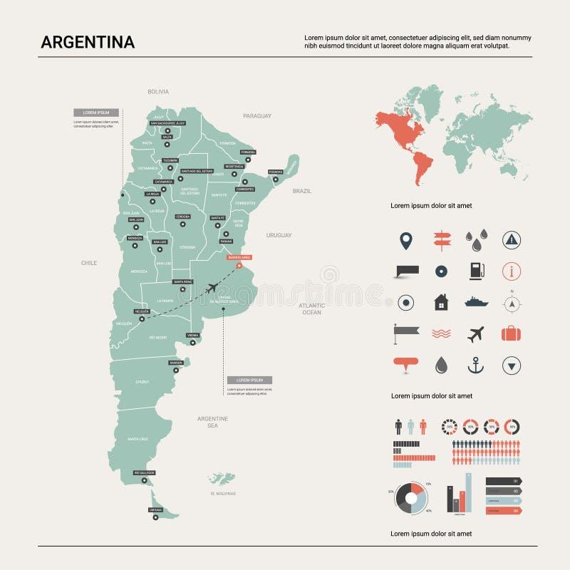 Mapa do vetor de Argentina Mapa detalhado alto do país com divisão, cidades e capital Buenos Aires Mapa político, mapa do mundo, ilustração stock