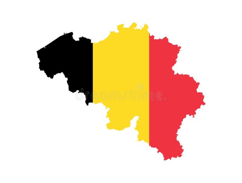 Mapa do vetor de Bélgica com a bandeira oficial ilustração do vetor