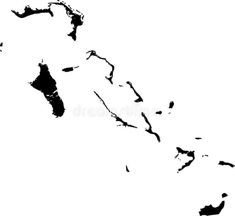 Mapa do vetor de Bahamas ilustração stock