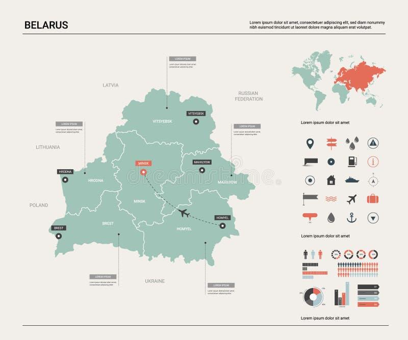 Mapa do vetor de belarus Mapa detalhado alto do país com divisão, cidades e capital Minsk Mapa pol?tico, mapa do mundo, infograph ilustração royalty free