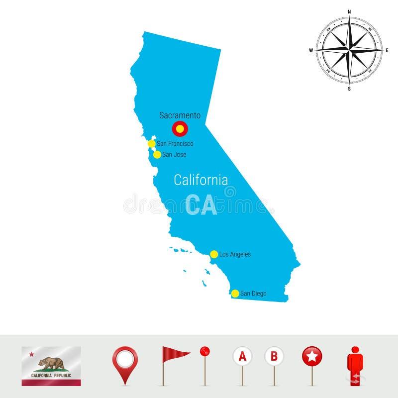Mapa do vetor de Califórnia isolado no fundo branco Silhueta detalhada do estado de Califórnia Bandeira oficial de Califórnia ilustração stock
