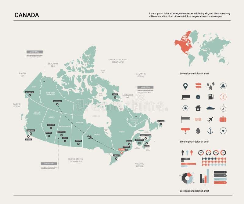 Mapa do vetor de Canad? Mapa detalhado alto do pa?s com divis?o, cidades e capital Ottawa Mapa pol?tico, mapa do mundo, infograph ilustração royalty free