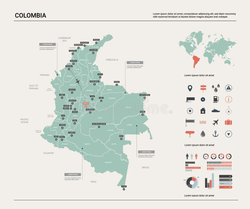 Mapa do vetor de Col?mbia Mapa detalhado alto do pa?s com divis?o, cidades e capital Bogot? Mapa pol?tico, mapa do mundo, infogra ilustração do vetor