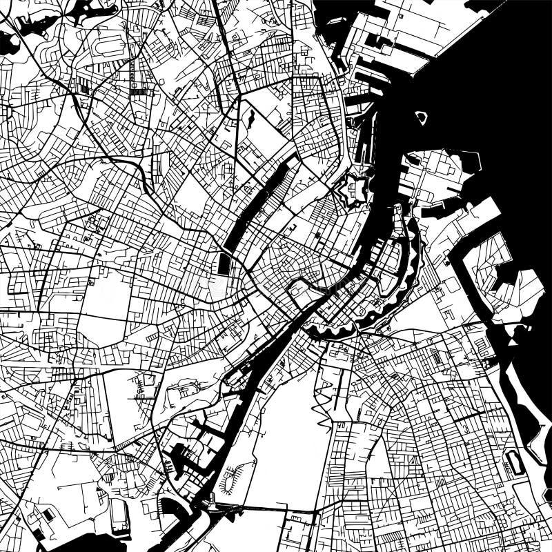 Mapa do vetor de Copenhaga Dinamarca ilustração stock