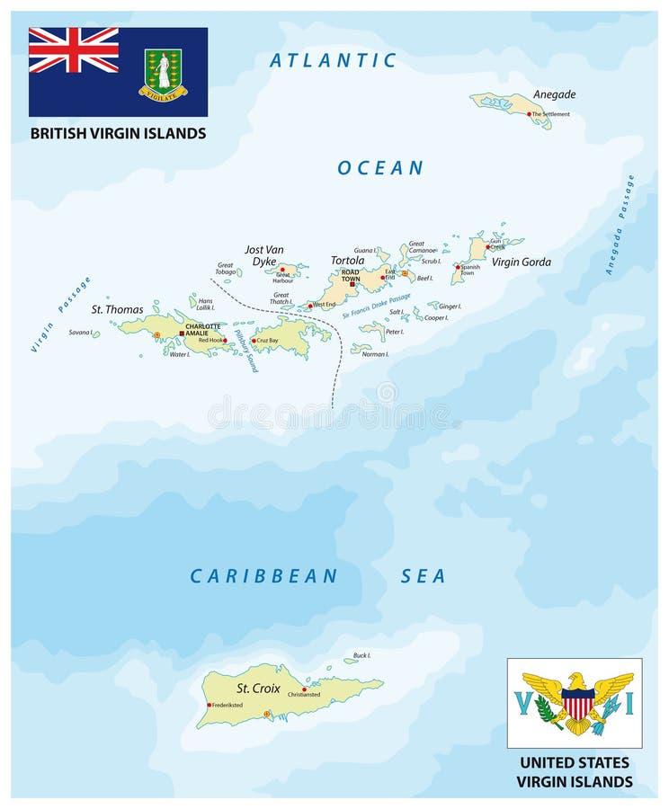 Mapa do vetor de Estados Unidos e de British Virgin Islands com bandeiras ilustração stock