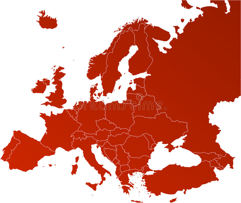 Mapa do vetor de Europa ilustração stock