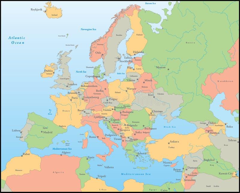 Mapa do vetor de Europa ilustração do vetor