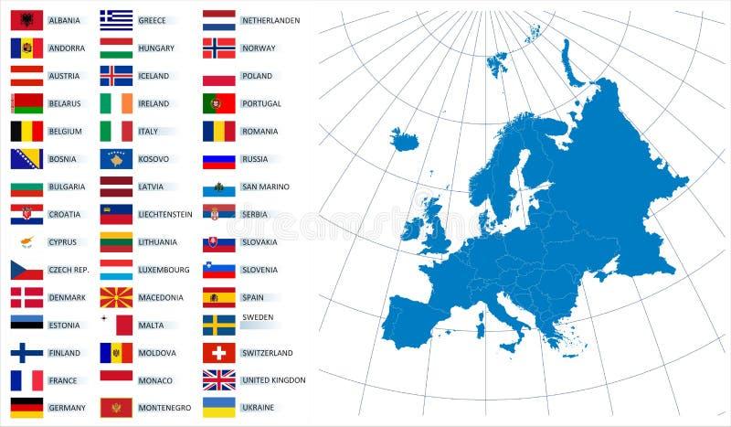 Mapa do vetor de Europa com bandeiras ilustração do vetor