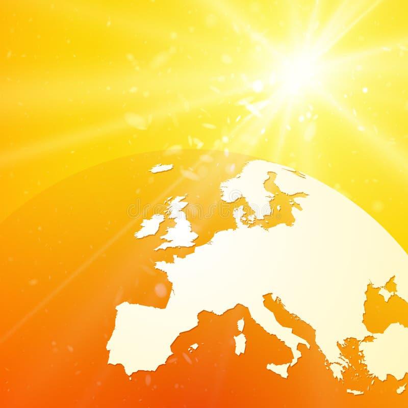 Mapa do vetor de Europa no globo do mundo com a aumentação do sol ilustração stock