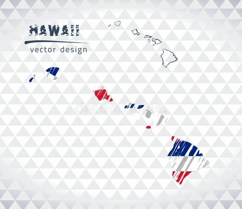 Mapa do vetor de Havaí com o interior da bandeira isolado em um fundo branco Ilustração tirada mão do giz do esboço ilustração royalty free