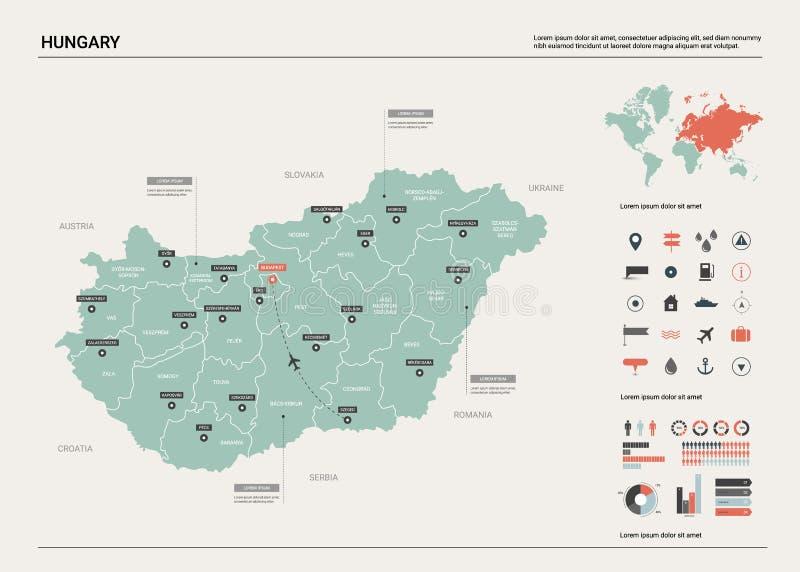 Mapa do vetor de Hungria Mapa detalhado alto do pa?s com divis?o, cidades e o mapa pol?tico de Budapest da capital, mapa do mundo ilustração stock