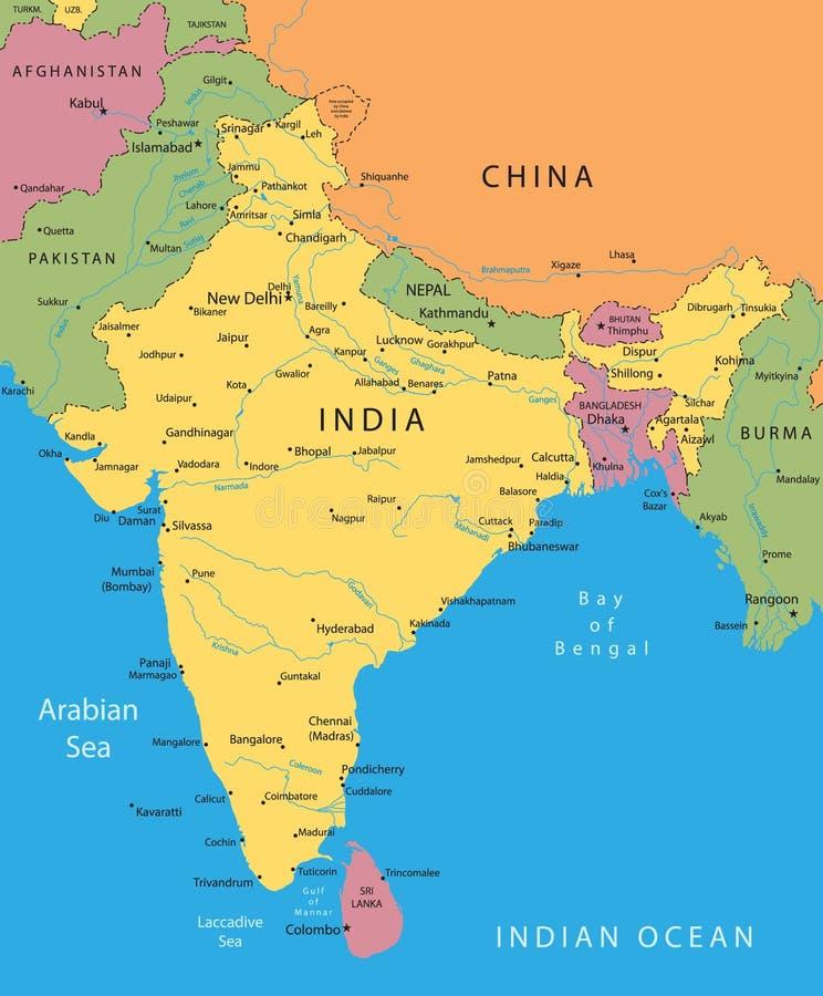 Mapa do vetor de India ilustração stock