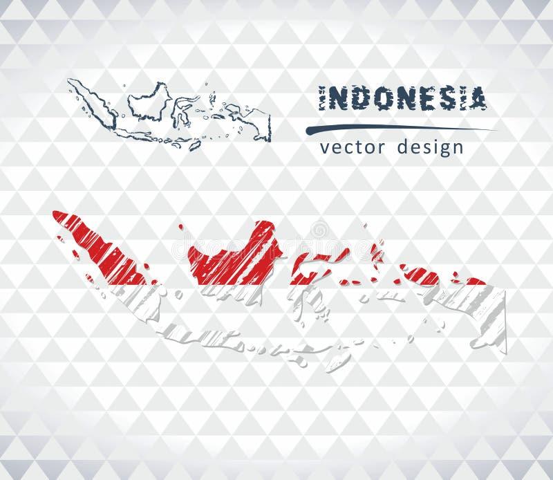 Mapa do vetor de Indonésia com o interior da bandeira isolado em um fundo branco Ilustração tirada mão do giz do esboço ilustração royalty free