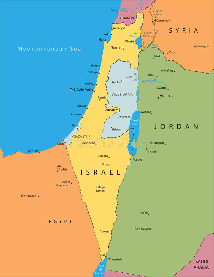 Mapa do vetor de Israel ilustração stock