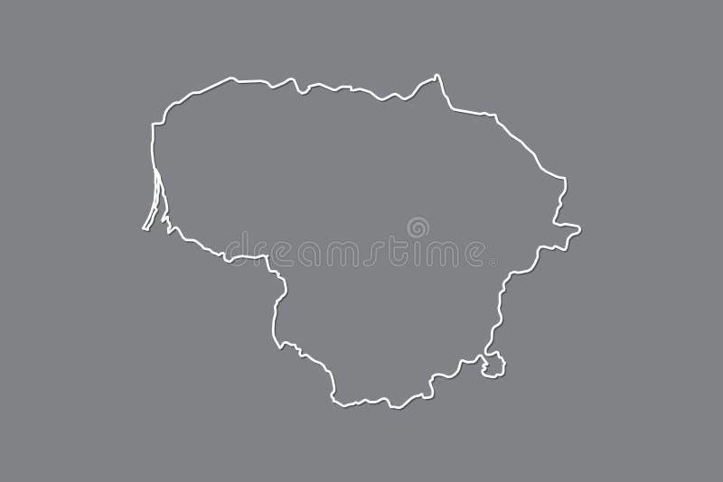 Mapa do vetor de Lituânia com única linha de beira limite usando a cor branca na ilustração escura do fundo ilustração royalty free