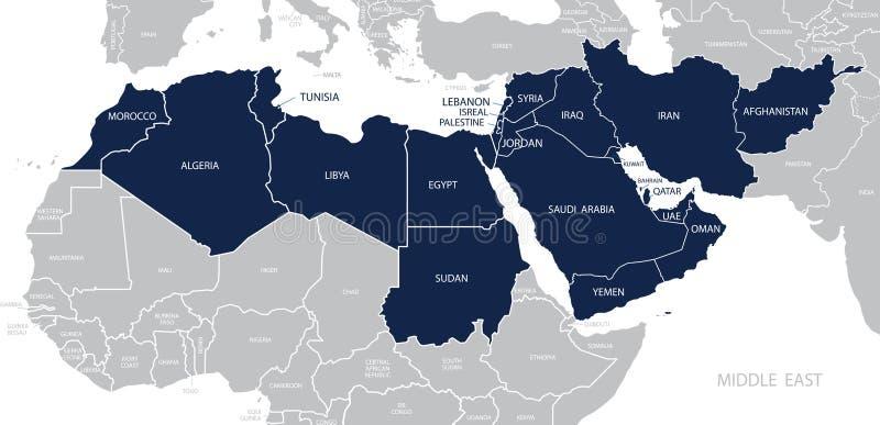 Mapa do vetor de Médio Oriente ilustração stock