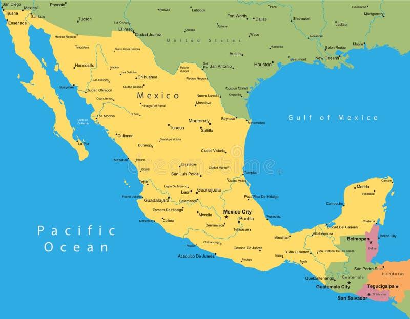 Mapa do vetor de México ilustração do vetor