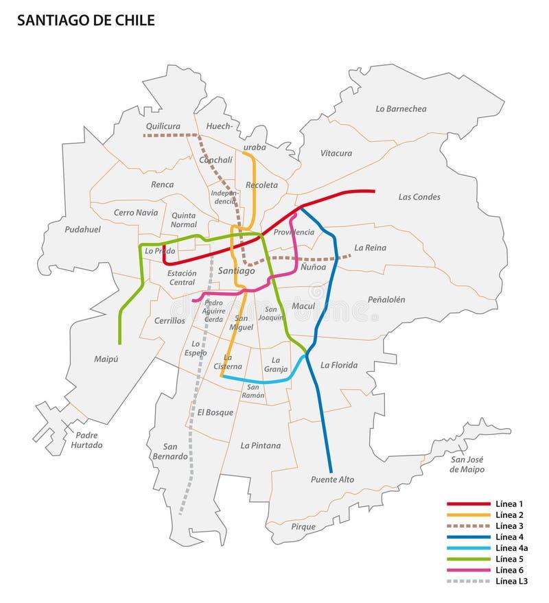 Mapa do vetor de Metro de Santiago ilustração stock