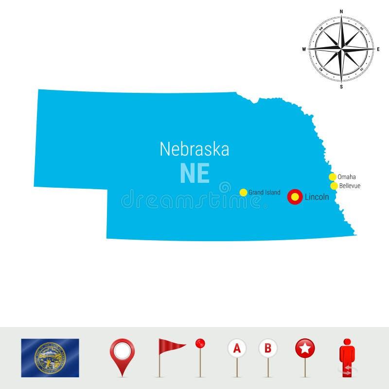Mapa do vetor de Nebraska isolado no fundo branco Silhueta detalhada alta do estado de Nebraska Bandeira oficial de Nebraska ilustração do vetor