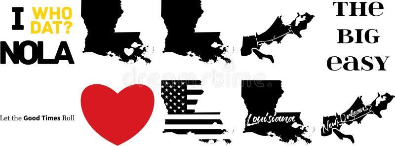 Mapa do vetor de Nova Orle?es louisiana ilustração stock