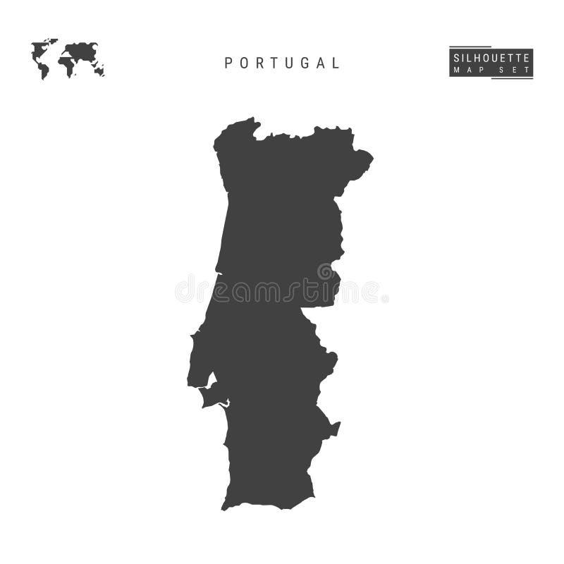 Mapa do vetor de Portugal isolado no fundo branco Mapa preto Alto-detalhado da silhueta de Portugal ilustração royalty free