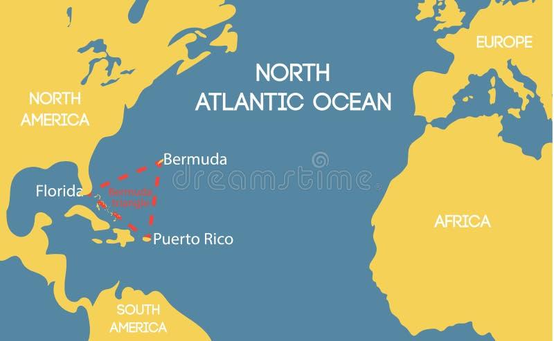 Mapa do vetor do triângulo de Bermuda ilustração do vetor