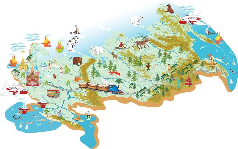 Mapa de Rússia ilustração royalty free