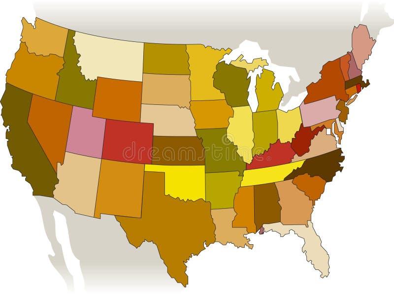 Mapa do vetor dos EUA ilustração do vetor