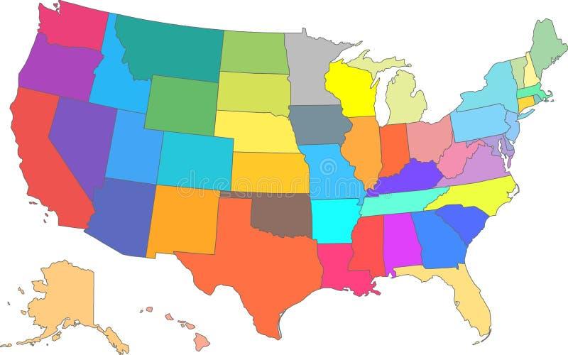 Mapa do vetor dos EUA da cor com todos os estados ilustração stock