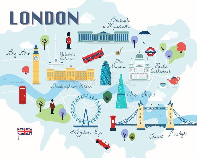 Mapa do vetor e da ilustração das atrações de Londres ilustração stock