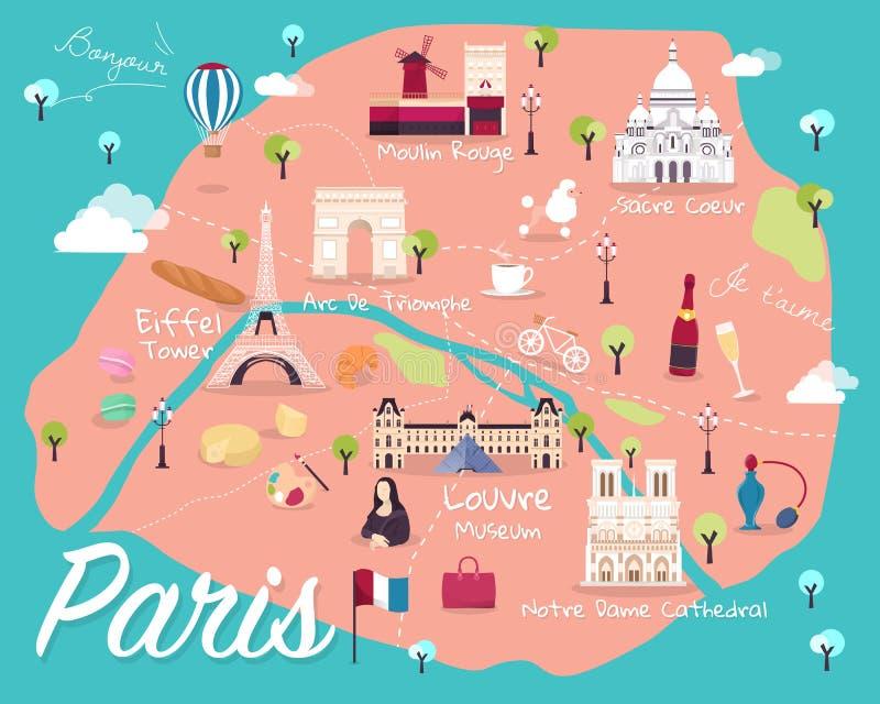 Mapa do vetor e da ilustração das atrações de Paris ilustração do vetor