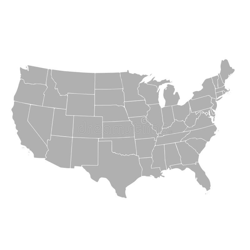 Mapa do vetor do Estados Unidos da América com beiras de estado ilustração royalty free