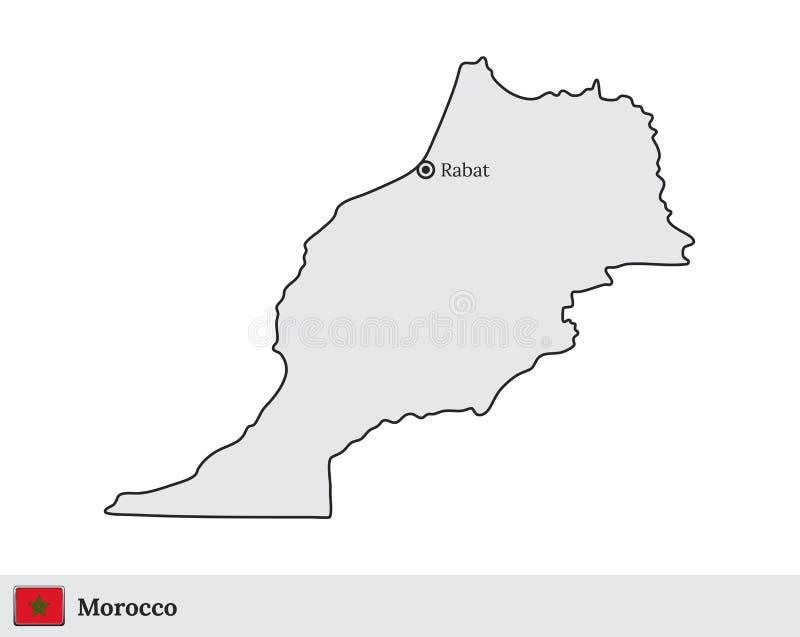 Mapa do vetor marroquino com a capital Rabat ilustração stock