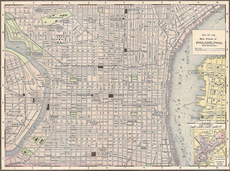 Mapa do vintage 1891 da cidade de Philadelphfia foto de stock