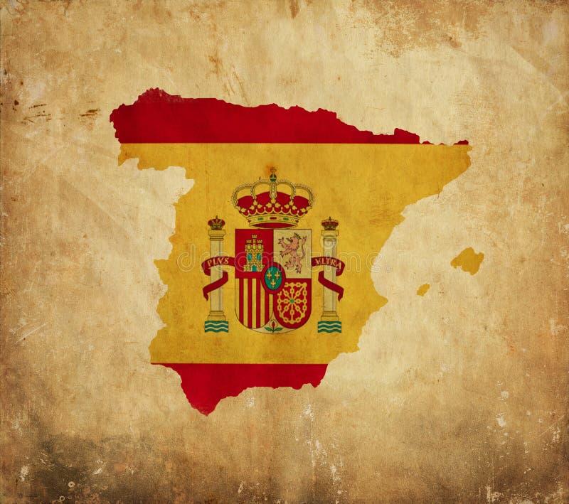 Mapa do vintage da Espanha no papel do grunge fotos de stock