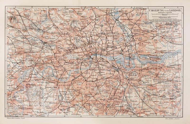 Mapa do vintage de Londres e de arredors imagem de stock