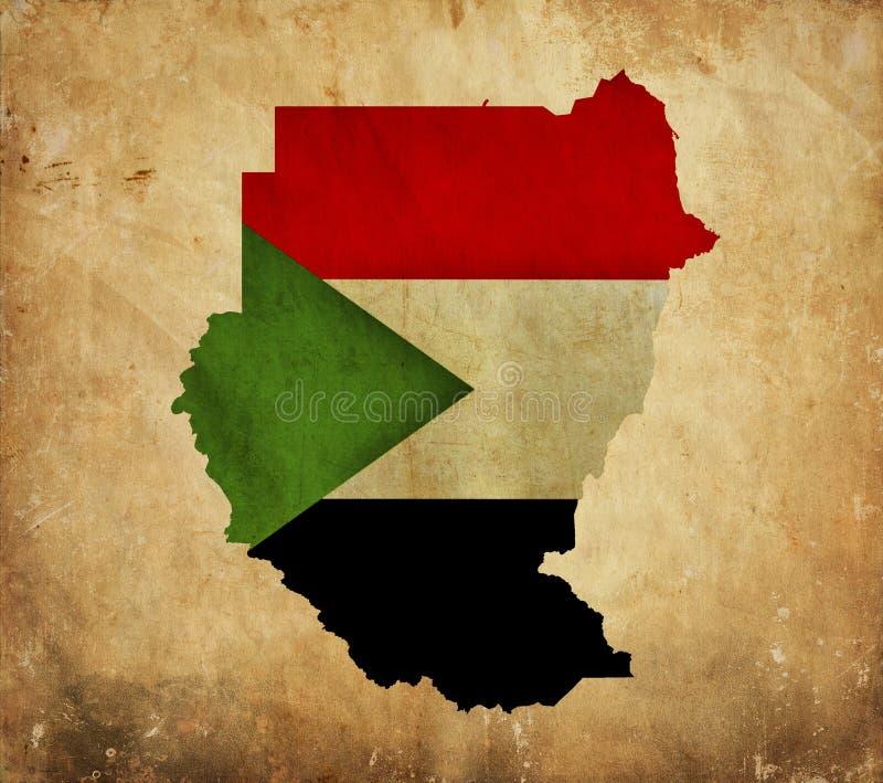 Mapa do vintage de Sudão no papel do grunge fotos de stock