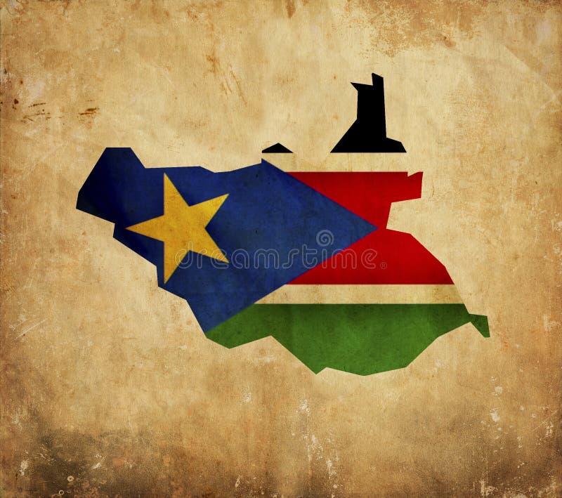 Mapa do vintage de Sudão sul no papel do grunge imagens de stock